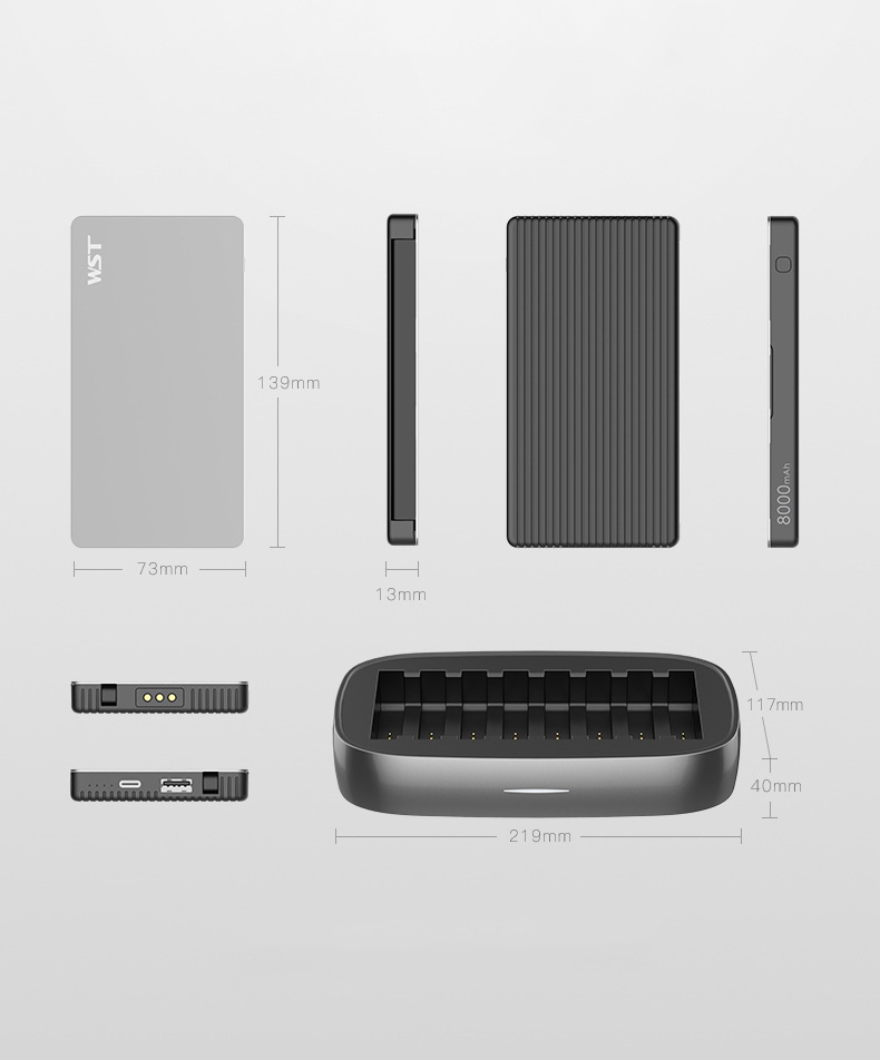 zarjadnaja stancija 8 v 1 wst s vneshnimi akkumuljatorami 19 - Зарядная станция 8 в 1 WST с внешними аккумуляторами – 8 х 8000 мАч, Micro USB + Lightning + Tipe C, 4 х USB