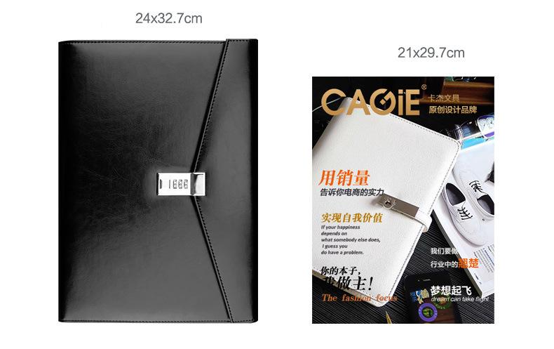 kozhanaja papka s kodovym zamkom cagie classic 12 - Кожаная папка с кодовым замком Cagie Classic