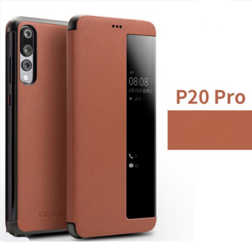 kozhanyj chehol dlja huawei p20 huawei p20 pro s intellektualnym jekranom 02 - Кожаный чехол для Huawei P20/ Huawei P20 Pro с интеллектуальным экраном