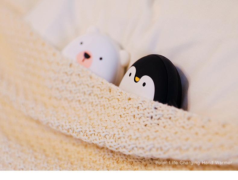 Карманная грелка для рук USB Polar Life с Power Bank 3600 мАч, мишка, пингвин