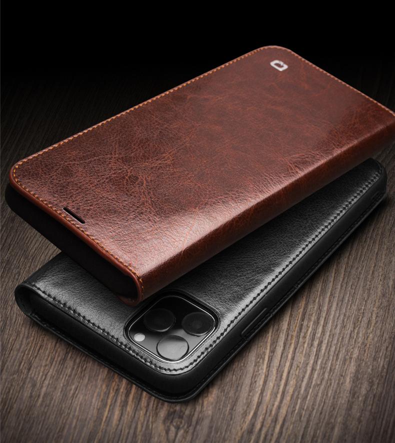 kozhanyj chehol dlja iphone11 pro pro max s portmone 13 - Кожаный чехол для iPhone 11 Pro Pro Max с портмоне QIALINO