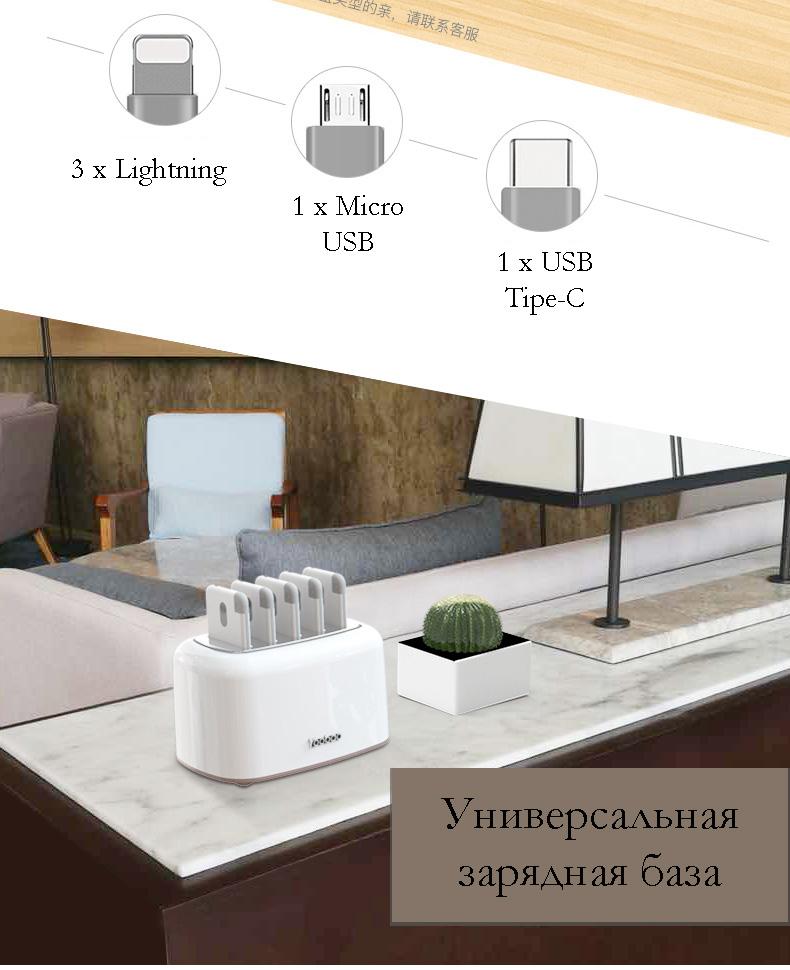 zarjadnaja stancija share box s vneshnimi akkumuljatorami 02 - Зарядная станция Share Box с внешними аккумуляторами – 5 х 5000 мАч/ 5 х 10000 мАч, Micro USB + 3 Lightning + Tipe C
