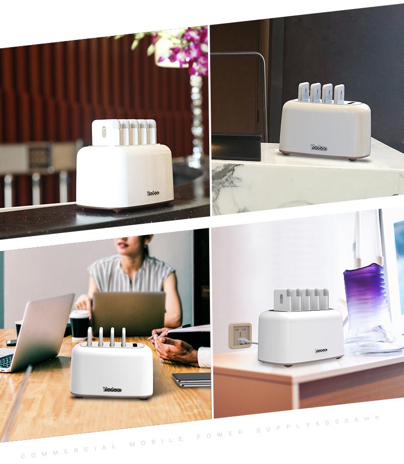 zarjadnaja stancija share box s vneshnimi akkumuljatorami 06 - Зарядная станция Share Box с внешними аккумуляторами – 5 х 5000 мАч/ 5 х 10000 мАч, Micro USB + 3 Lightning + Tipe C
