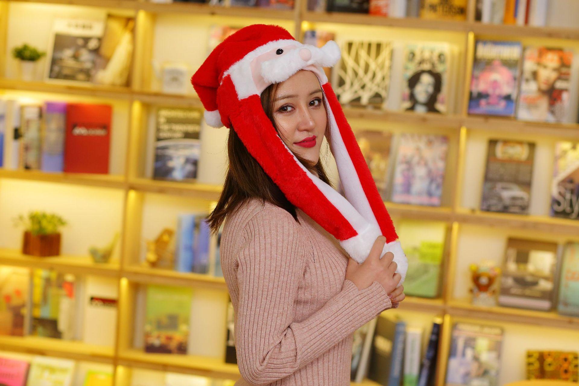 10097202505 1486035382 - Новогодняя шапка Деда Мороза светящаяся с длинными завязками, шевелятся усы