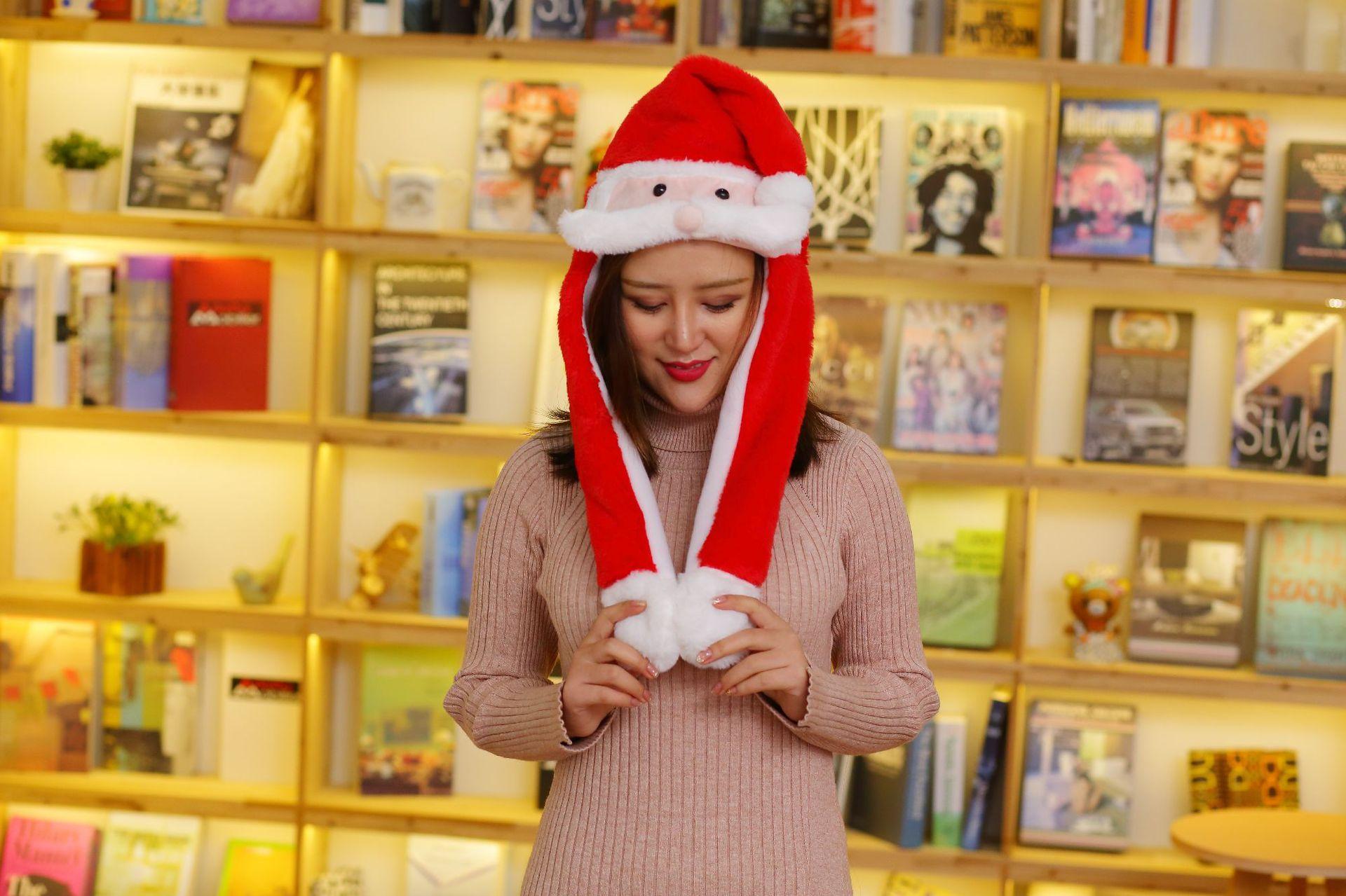 10097211436 1486035382 - Новогодняя шапка Деда Мороза светящаяся с длинными завязками, шевелятся усы