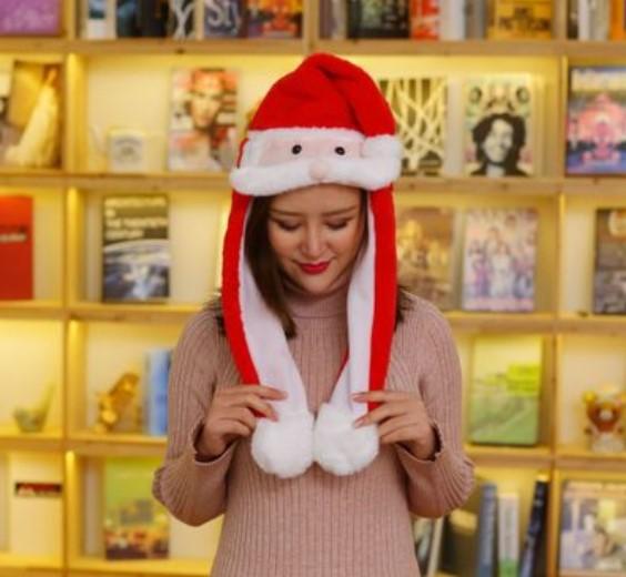 bez imeni - Новогодняя шапка Деда Мороза светящаяся с длинными завязками, шевелятся усы