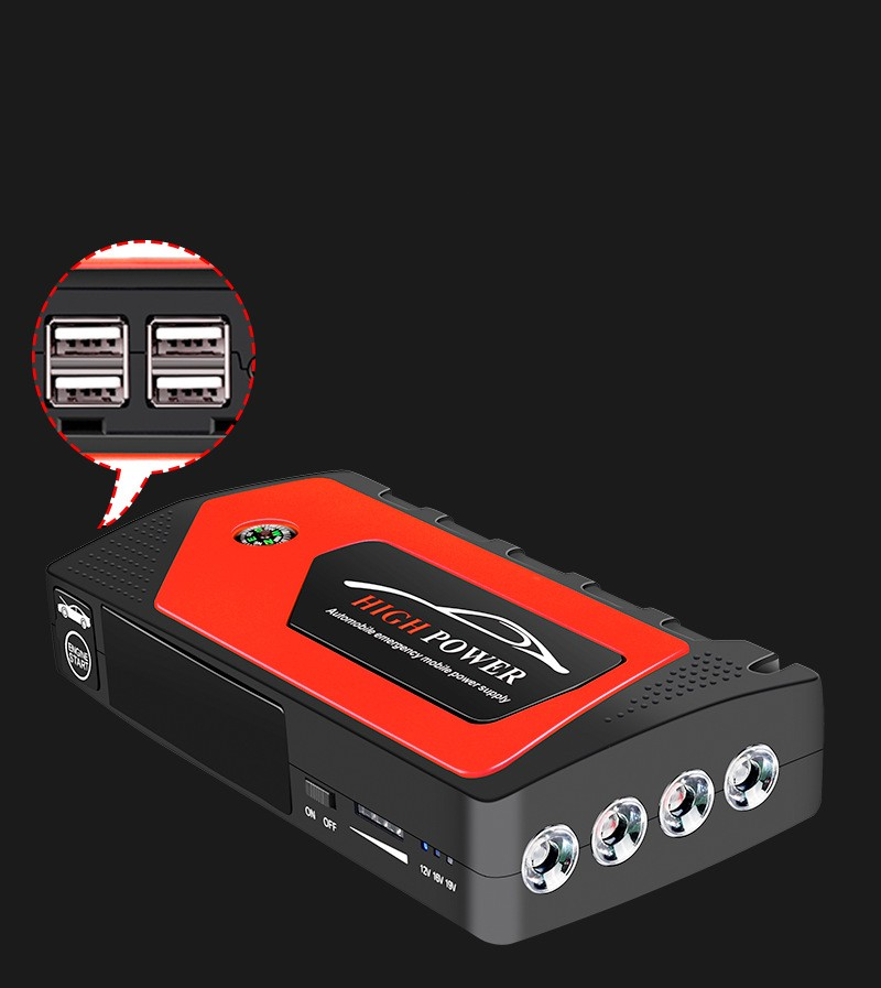 prikurivatel dlja avtomobilja jump starter jx28 600a 16 1 - Прикуриватель для автомобиля Jump Starter JX28 600А, 12В: 18000 мАч, 4 х USB 5V 2A, стартер-кабели, адаптеры