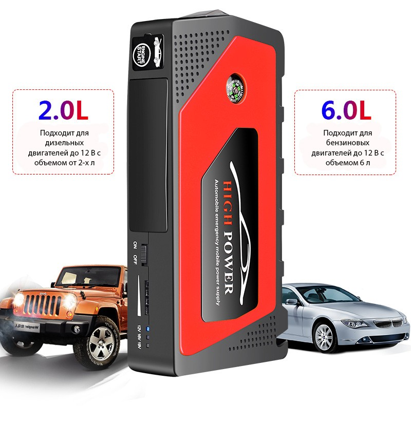 prikurivatel dlja avtomobilja jump starter jx28 600a 19 1 - Прикуриватель для автомобиля Jump Starter JX28 600А, 12В: 18000 мАч, 4 х USB 5V 2A, стартер-кабели, адаптеры