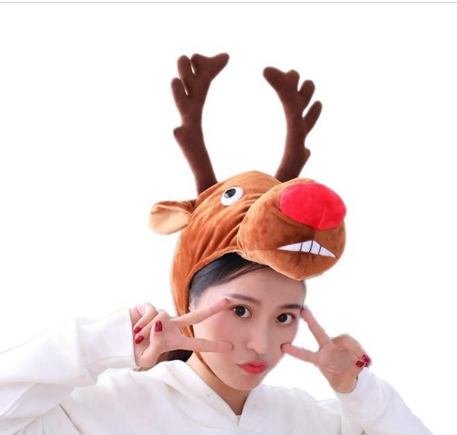 novogodnjaja shapka s rogami olenja shapka s olenem 04 - Новогодняя шапка с рогами оленя, шапка с оленем