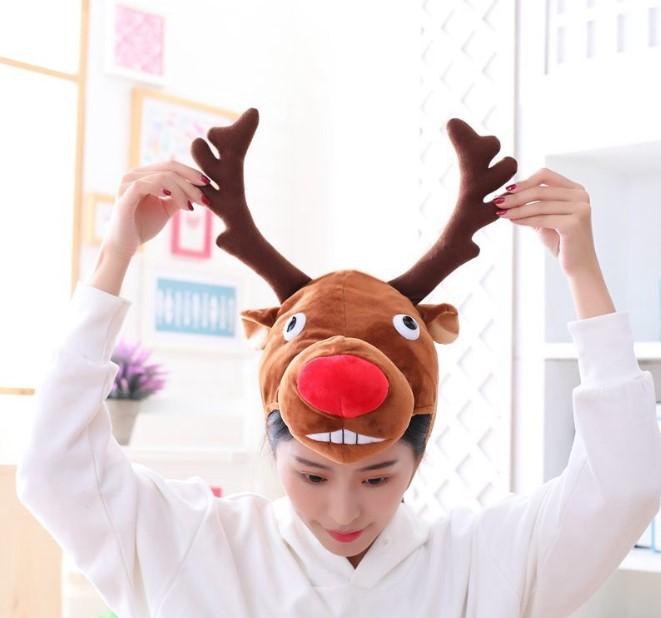 Новогодняя шапка с рогами оленя, шапка с оленем