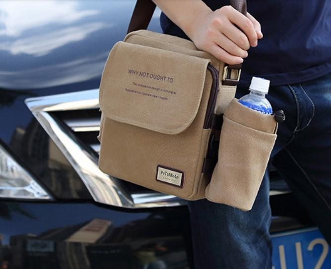 Мужская сумка наплечная Peterbolo Maskilli со съемным карманом для бутылки