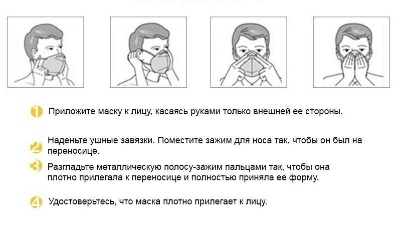 Многослойная повязка для лица с угольным фильтром KN95, защитная маска против вирусов гриппа