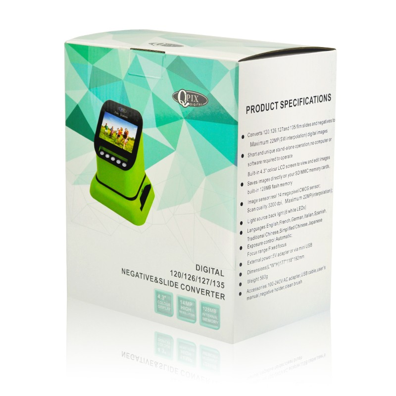 USB-сканер фотоплёнки и слайдов с ЖК-монитором 4,3 дюйма QPIX DIGITAL FS210: 22Мп, SD-карты до 128Гб 251029