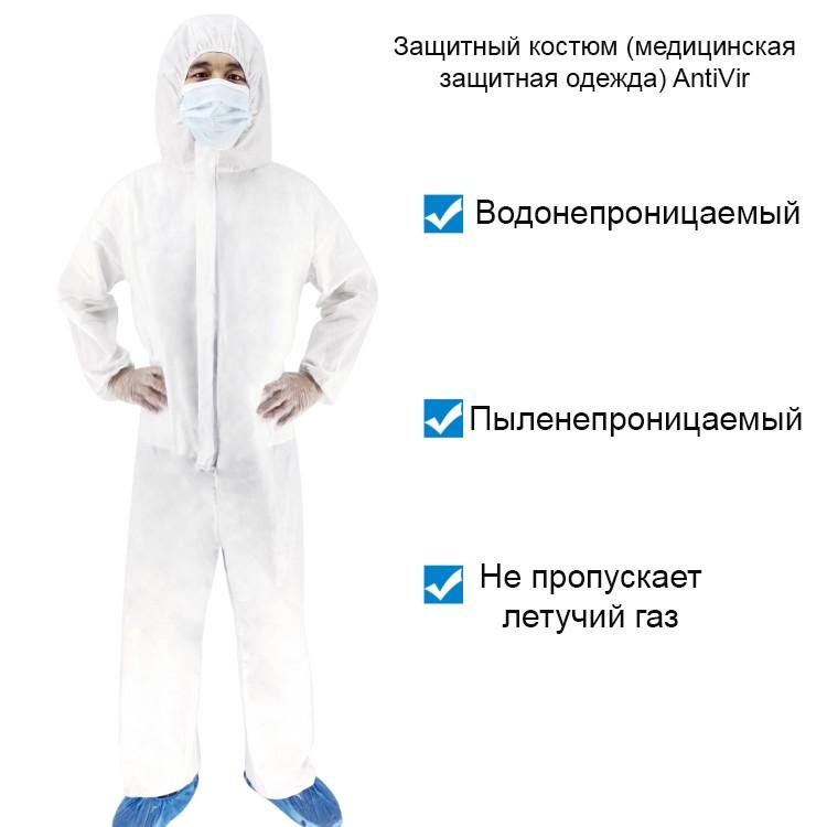 Защитный комплект врача-инфекциониста: защитный костюм + защитный экран пластиковый 251949