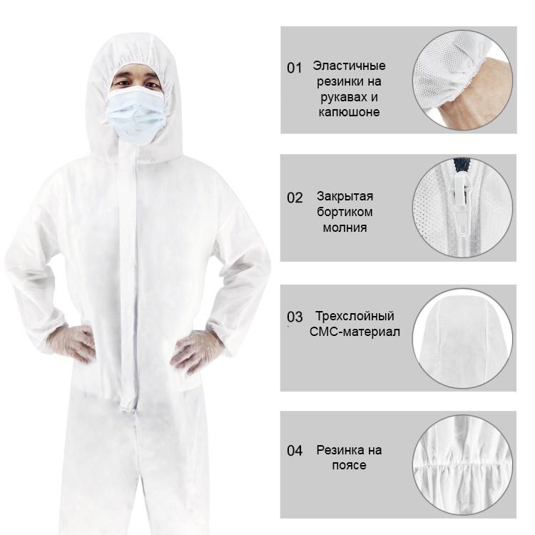 Защитный комплект врача-инфекциониста: защитный костюм + защитный экран пластиковый 251950