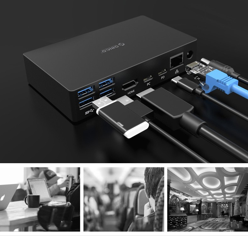 mnogofunkcionalnaja dok stancija orico sdb1 08 - Многофункциональная док-станция ORICO SDB1 - PD USB Type C-хаб, HDMI 4К, RJ45, USB3.0 х 6, аудио