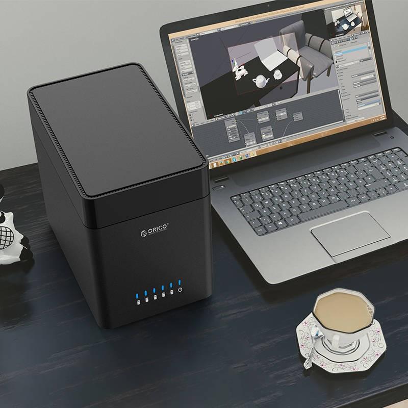 Внешний корпус для жестких дисков 35ʺ Orico DS500U3 03 - Внешний корпус для жестких дисков 3,5ʺ Orico DS500U3, вмещает 1-5 дисков, магнитный разъем