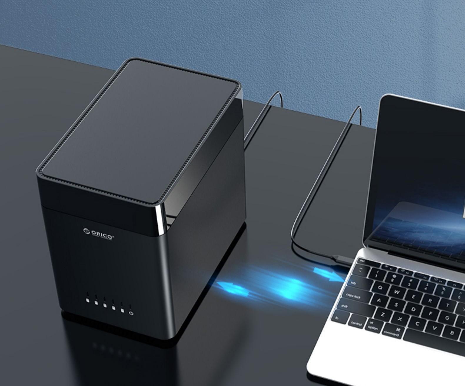 Внешний корпус для жестких дисков 35ʺ Orico DS500U3 08 - Внешний корпус для жестких дисков 3,5ʺ Orico DS500U3, вмещает 1-5 дисков, магнитный разъем