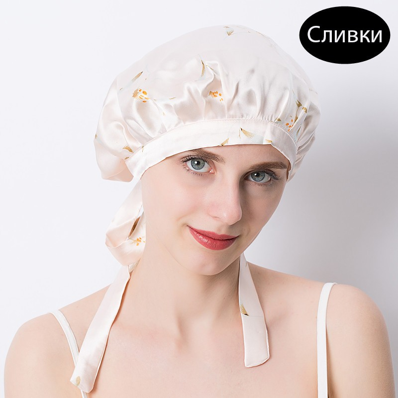 шапочка для сна регулируемая 08 - Шелковая шапочка для сна регулируемая, натуральный шелк