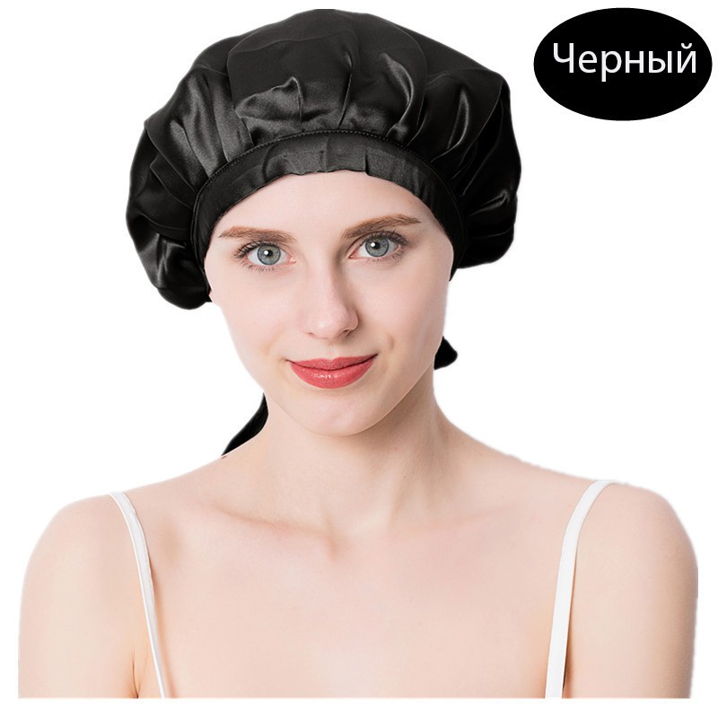 шапочка для сна регулируемая 09 - Шелковая шапочка для сна регулируемая, натуральный шелк
