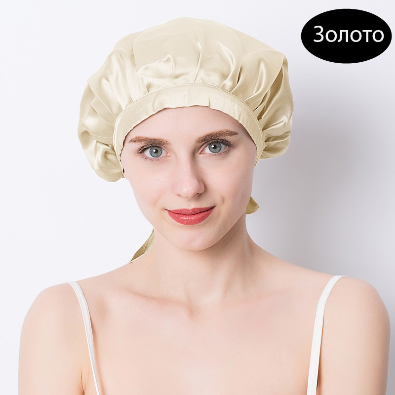 шапочка для сна регулируемая 14 - Шелковая шапочка для сна регулируемая, натуральный шелк