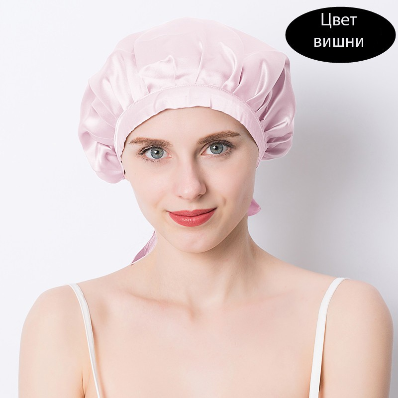 шапочка для сна регулируемая 19 - Шелковая шапочка для сна регулируемая, натуральный шелк