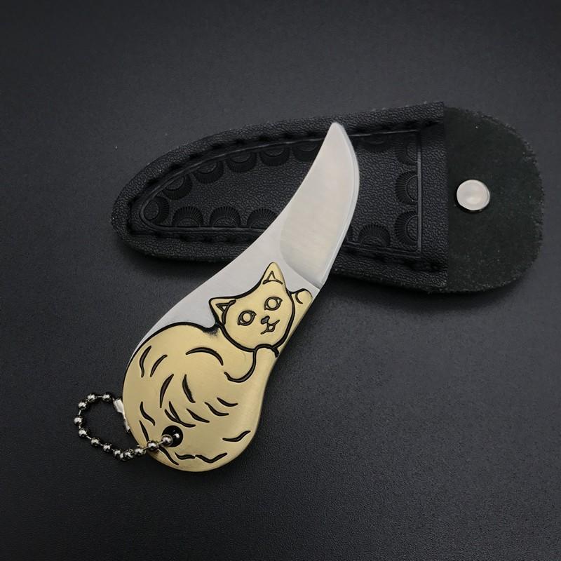 Мини-нож EDC с котиком, сталь, латунная ручка