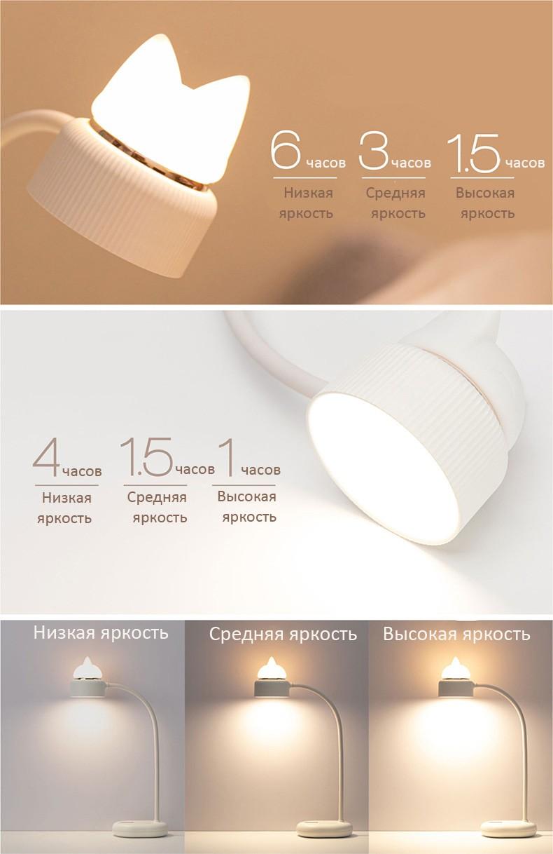 Светильник-ночник CatLamp светодиодный, 2 источника света, батарея 1200 мАч