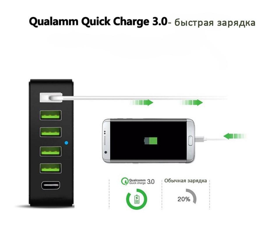 6-портовое USB-зарядное с поддержкой быстрой зарядки QC3.0, Type-C, 6 портов USB