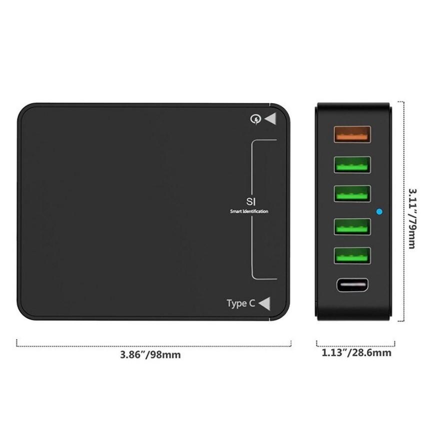 6 портовое USB зарядное с поддержкой быстрой зарядки QC3.0 04 - 6-портовое USB-зарядное с поддержкой быстрой зарядки QC3.0, Type-C, 6 портов USB