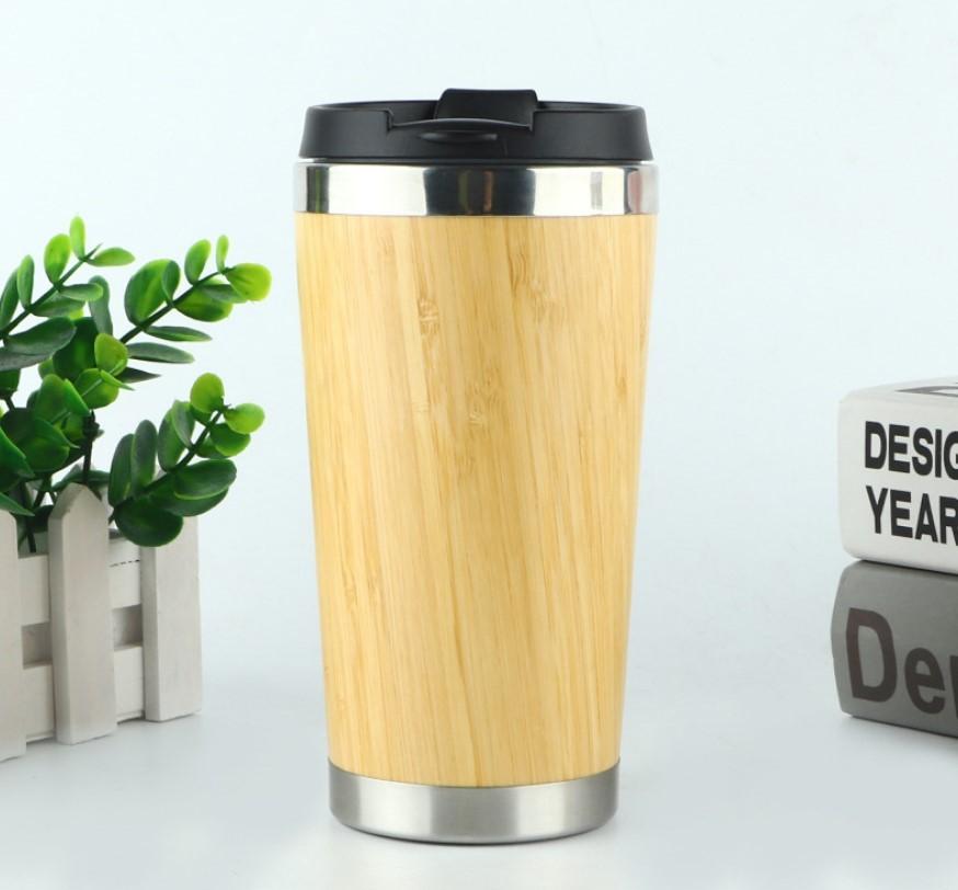Термочашка Бамбук, сталь 304, 450 мл, дизайн натурального дерева