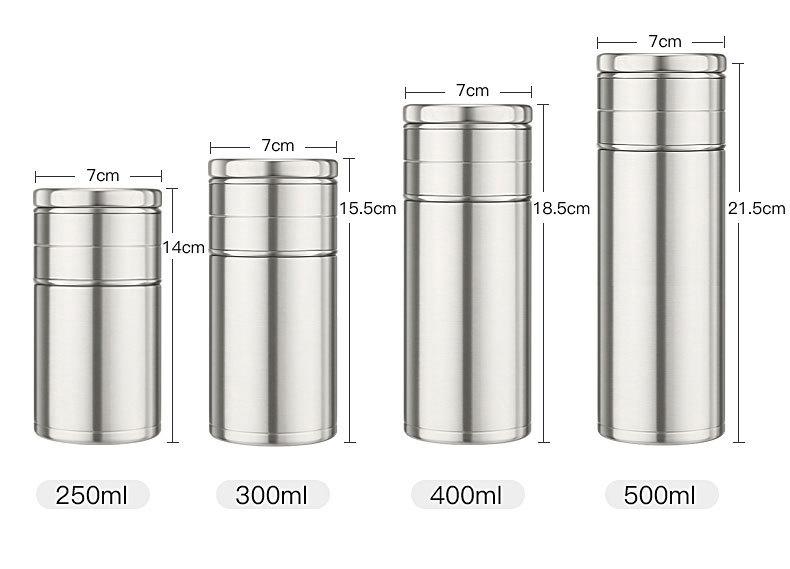 22123985324 11470864261234 - Стальная термочашка с инфузером BigInJapan, термокружка с сепаратором для чая 250-500 мл