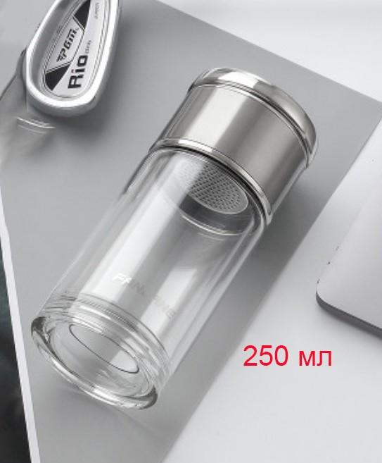 термос с двумя секциями WTea 06 - Заварочный термос с двумя секциями: боросиликатное стекло + сталь 304