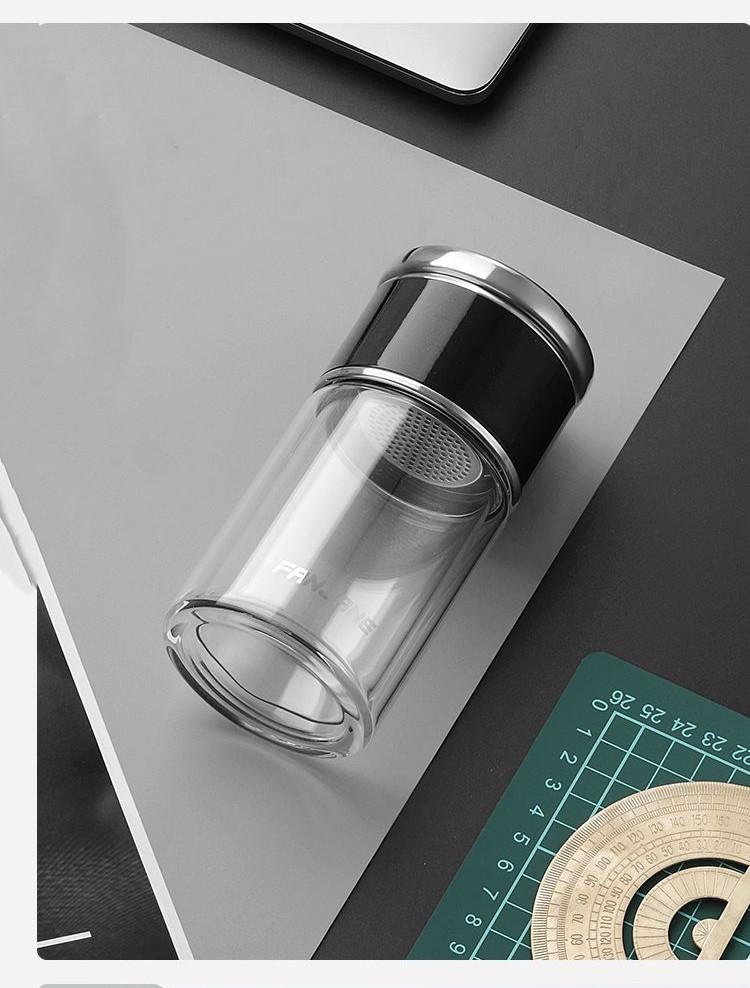 термос с двумя секциями WTea 21 - Заварочный термос с двумя секциями: боросиликатное стекло + сталь 304