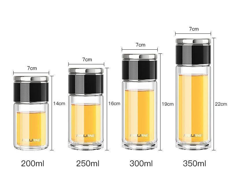 термос с двумя секциями WTea 25 - Заварочный термос с двумя секциями: боросиликатное стекло + сталь 304