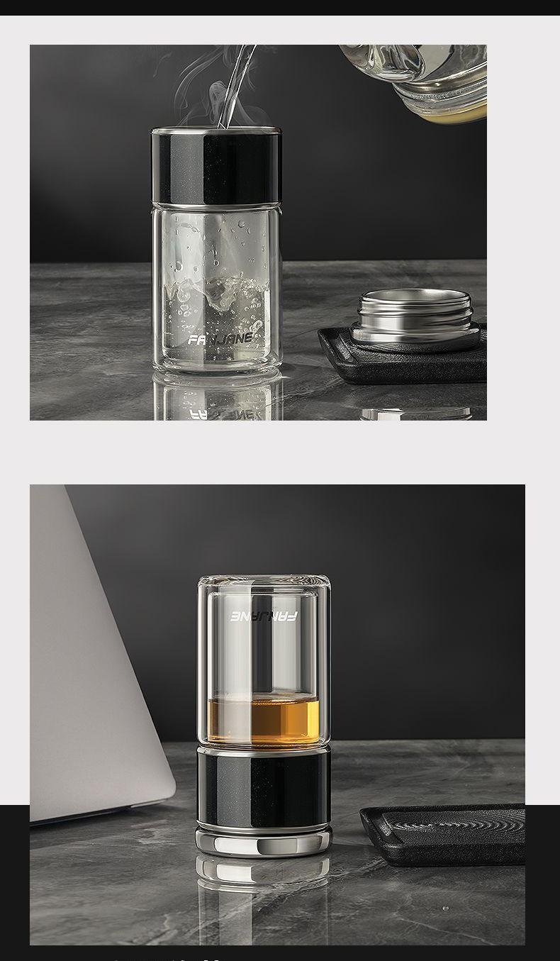 термос с двумя секциями WTea 28 - Заварочный термос с двумя секциями: боросиликатное стекло + сталь 304