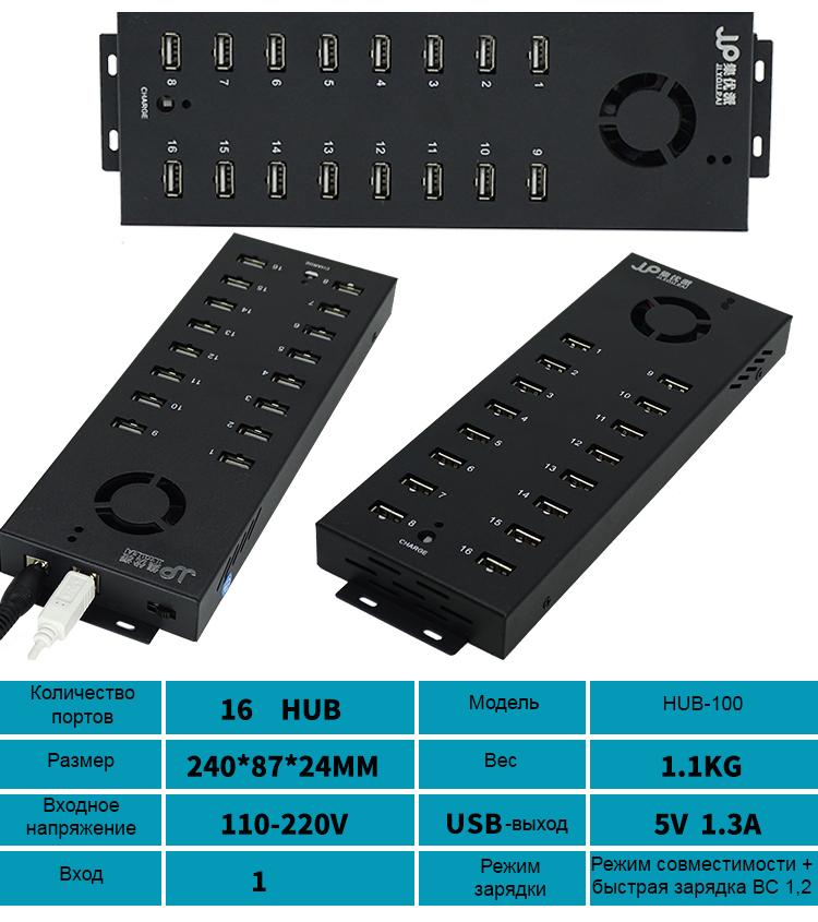 многопортовый концентратор USB для зарядки и передачи данных 13 - Двухканальный многопортовый концентратор USB для зарядки и передачи данных (10/16/20/30/48/60/100 портов)