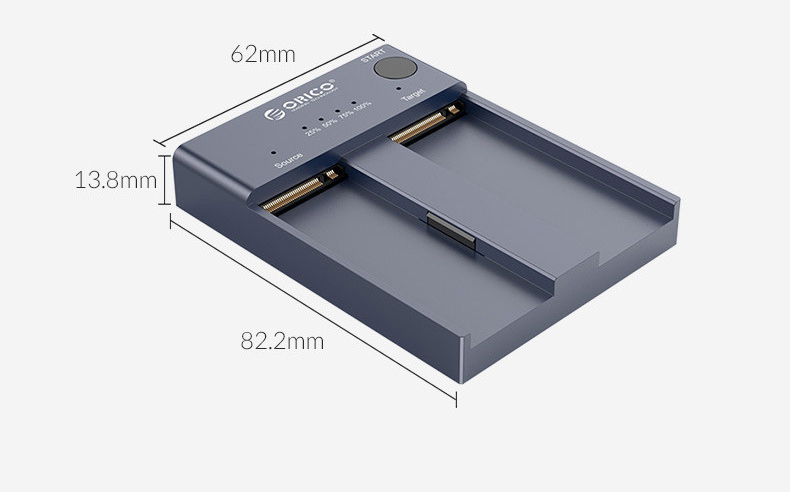 станция для внешних жестких дисков NVMe M.2 11 - Док-станция для внешних жестких дисков NVMe M.2 (до 4 ТБ), дубликатор SSD USB3.1 Type-C Orico M2P2-C3-C
