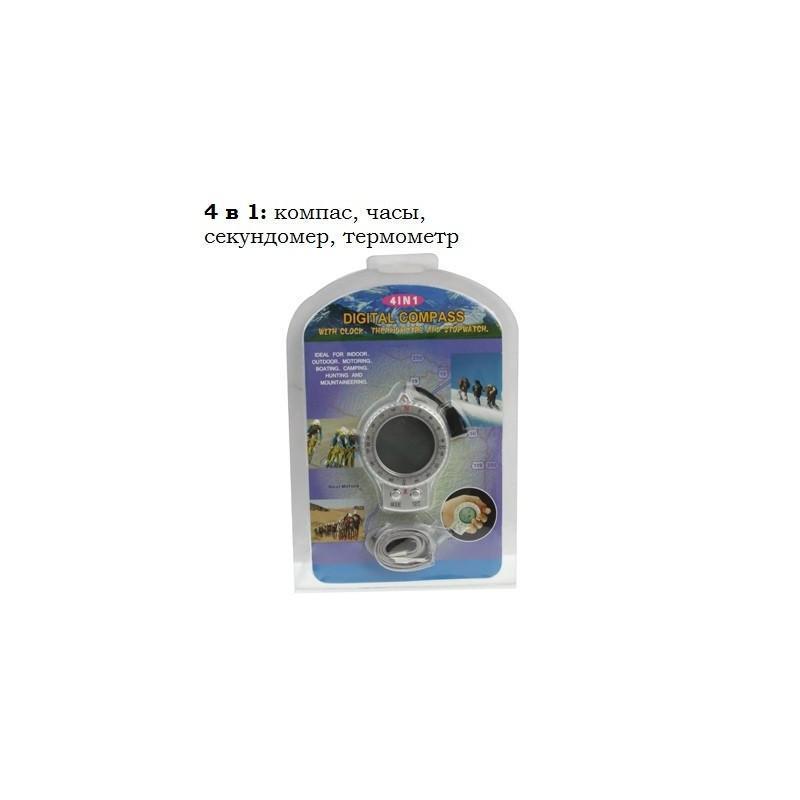 Портативный компас 4 в 1 – часы, секундомер, термометр, ЖК-дисплей, LED-подсветка 192046