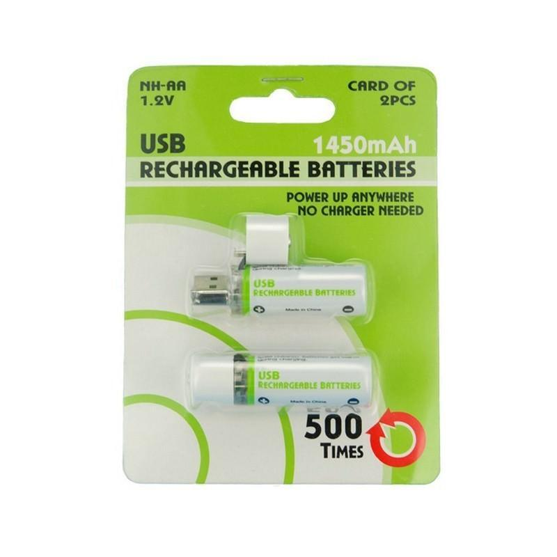 Пальчиковая аккумуляторная USB-батарейка (АА) – 1450 мAч, NiMH, 500 циклов, 2 штуки 192075