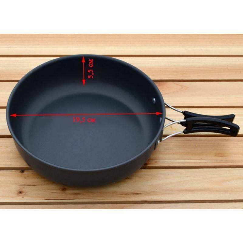Набор походной антипригарной посуды на 5 человек DS-500: 15 предметов, анодированный алюминий 192507