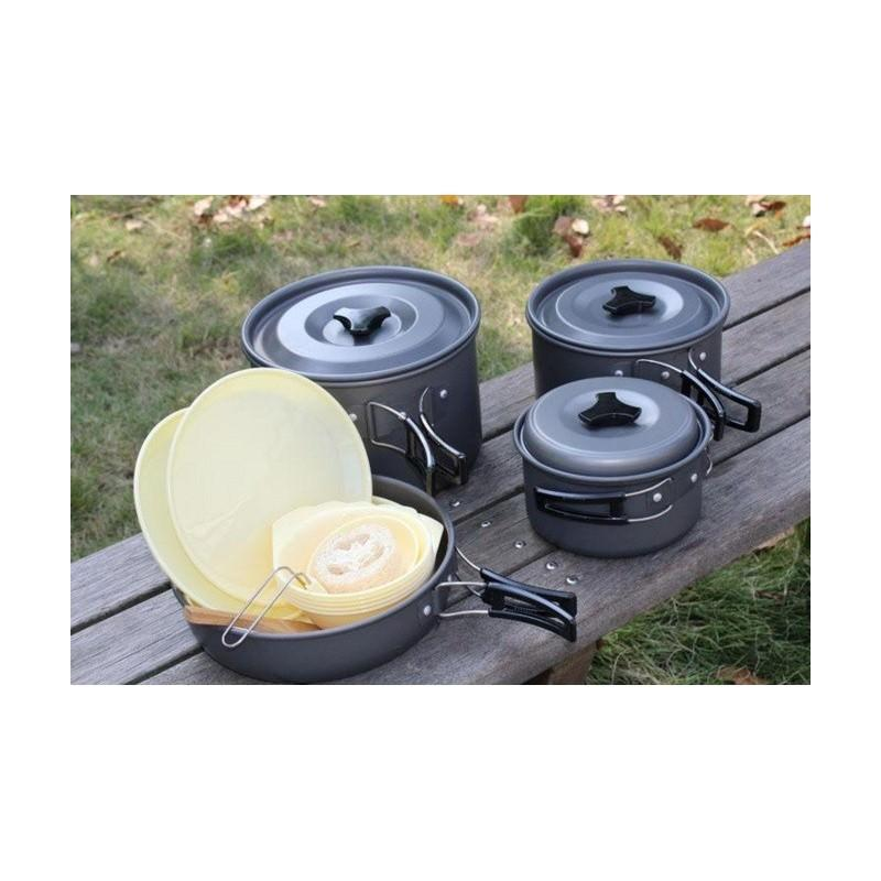 Набор походной антипригарной посуды на 5 человек DS-500: 15 предметов, анодированный алюминий
