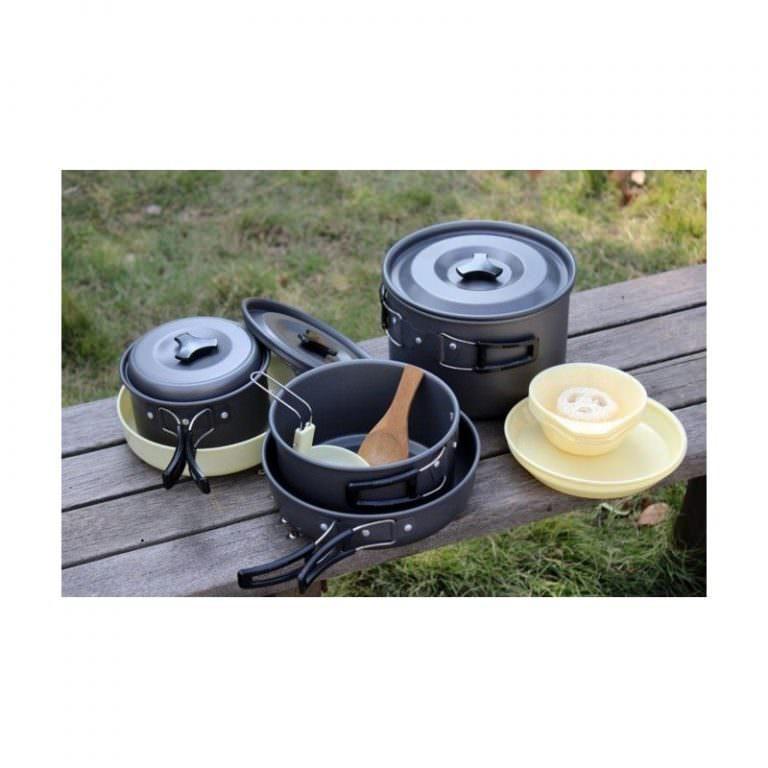 11494 - Набор походной антипригарной посуды на 5 человек DS-500: 15 предметов, анодированный алюминий