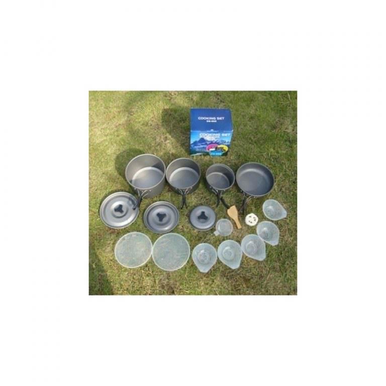 11495 - Набор походной антипригарной посуды на 5 человек DS-500: 15 предметов, анодированный алюминий