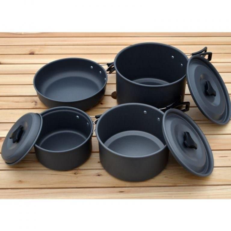 11498 - Набор походной антипригарной посуды на 5 человек DS-500: 15 предметов, анодированный алюминий