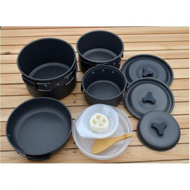 11499 - Набор походной антипригарной посуды на 5 человек DS-500: 15 предметов, анодированный алюминий