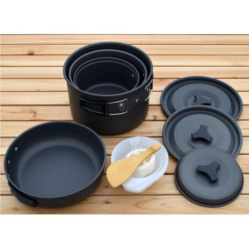 Набор походной антипригарной посуды на 5 человек DS-500: 15 предметов, анодированный алюминий 192517