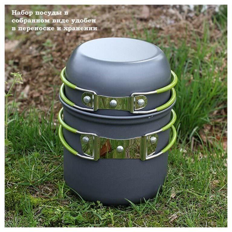 11503 - Набор посуды для отдыха и туризма 2 в 1 - анодированный алюминий, складные ручки