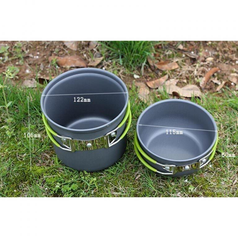 11505 - Набор посуды для отдыха и туризма 2 в 1 - анодированный алюминий, складные ручки