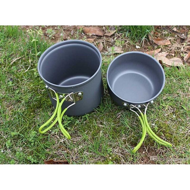 11507 - Набор посуды для отдыха и туризма 2 в 1 - анодированный алюминий, складные ручки